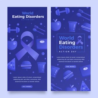 Conjunto de banners do dia de ação para transtornos alimentares do mundo gradiente