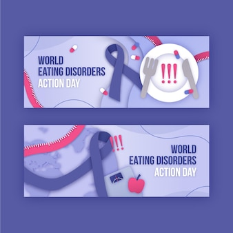 Conjunto de banners do dia de ação para transtornos alimentares em estilo papel