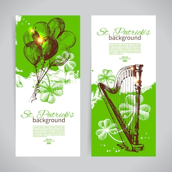 Conjunto de banners do dia de são patrício com ilustrações desenhadas à mão