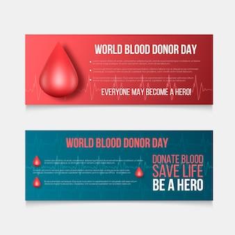 Conjunto de banners do dia do doador de sangue mundial realista