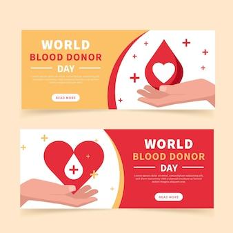Conjunto de banners do dia do doador de sangue no mundo plano
