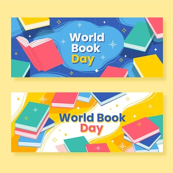 Conjunto de banners do dia do livro no mundo plano