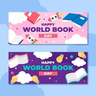 Conjunto de banners do dia do livro no mundo plano Vetor grátis