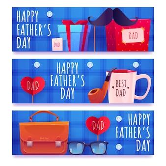 Conjunto de banners do dia do pai de desenho animado