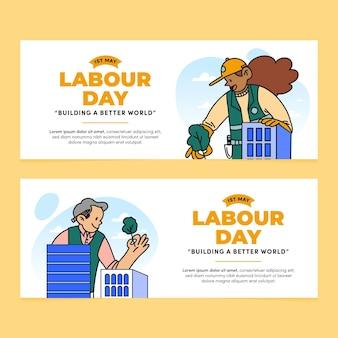 Conjunto de banners do dia do trabalho desenhados à mão