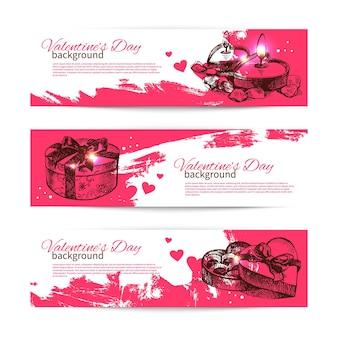 Conjunto de banners do dia dos namorados. ilustrações desenhadas à mão