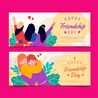Conjunto de banners do dia internacional da amizade Vetor grátis