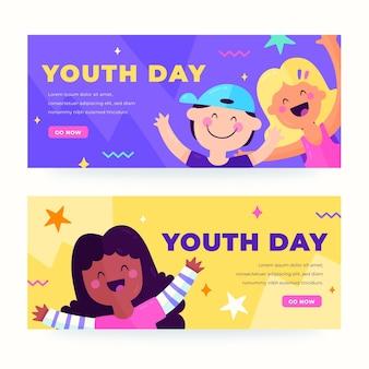 Conjunto de banners do dia internacional da juventude