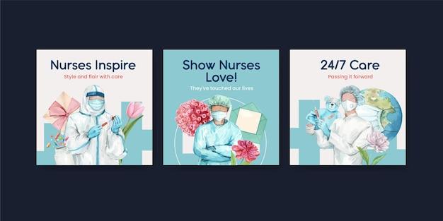 Conjunto de banners do dia internacional das enfermeiras