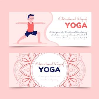 Conjunto de banners do dia internacional de ioga desenhado à mão