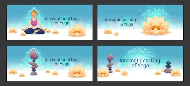 Conjunto de banners do dia internacional de ioga dos desenhos animados