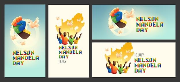 Conjunto de banners do dia internacional de nelson mandela dos desenhos animados