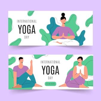 Conjunto de banners do dia internacional plano de ioga