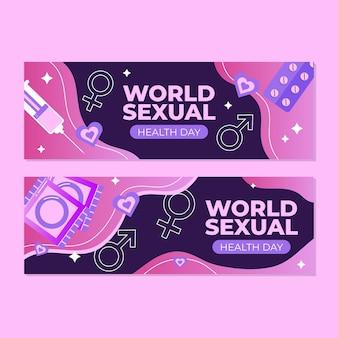 Conjunto de banners do dia mundial da saúde sexual gradiente