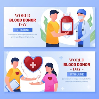 Conjunto de banners do dia mundial de doação de sangue gradiente