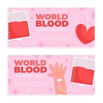 Conjunto de banners do dia mundial do doador de sangue dos desenhos animados