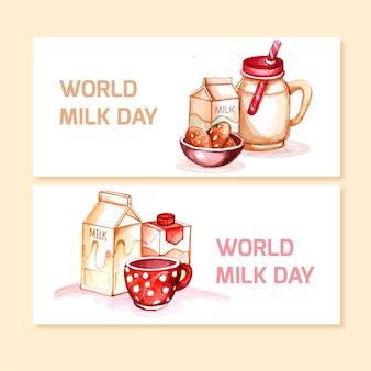 Conjunto de banners do dia mundial do leite em aquarela pintada à mão
