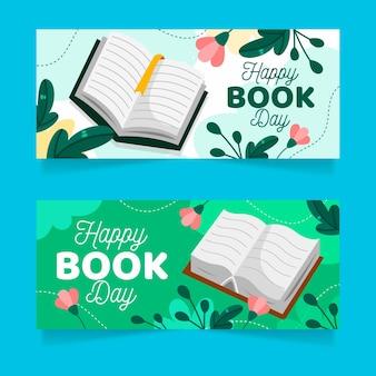 Conjunto de banners do dia mundial do livro desenhado à mão