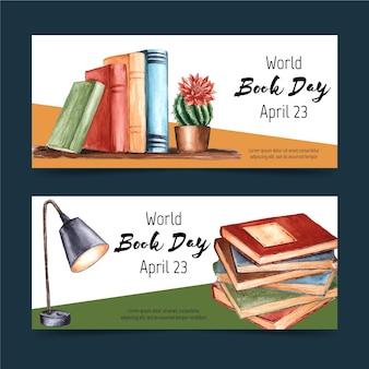 Conjunto de banners do dia mundial do livro em aquarela