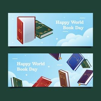 Conjunto de banners do dia mundial do livro em gradiente