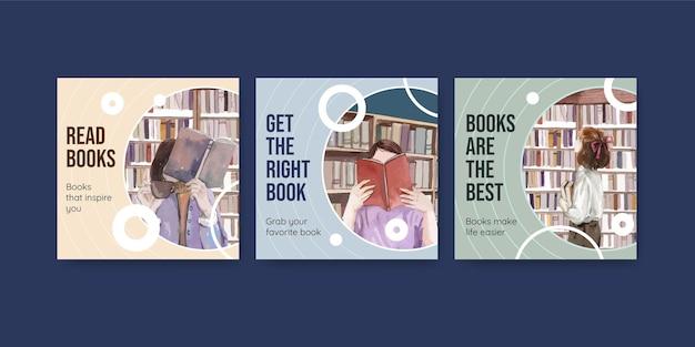 Conjunto de banners do dia mundial do livro