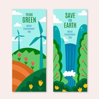 Conjunto de banners do dia mundial do meio ambiente desenhado à mão