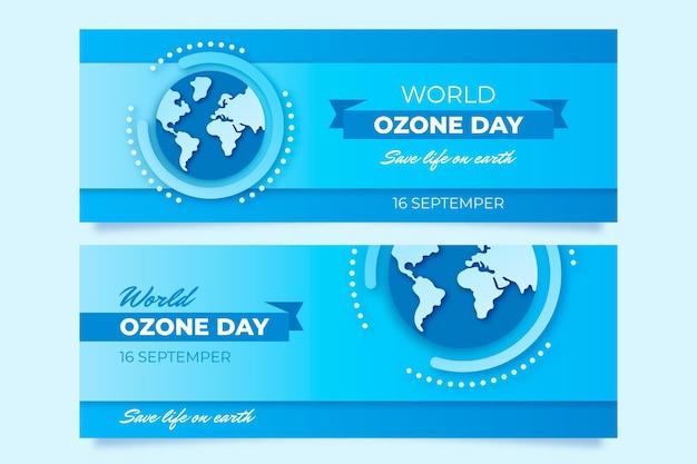 Conjunto de banners do dia mundial do ozônio em estilo papel Vetor grátis