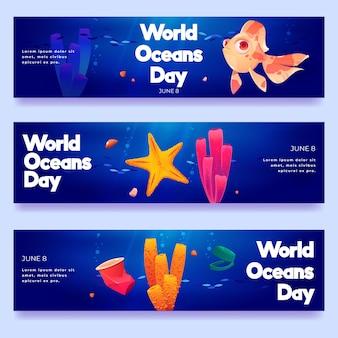 Conjunto de banners do dia mundial dos oceanos dos desenhos animados