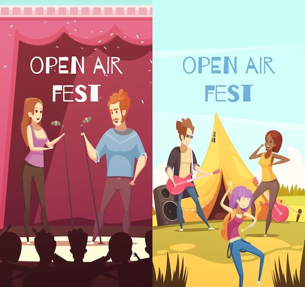 Conjunto de banners do festival ao ar livre