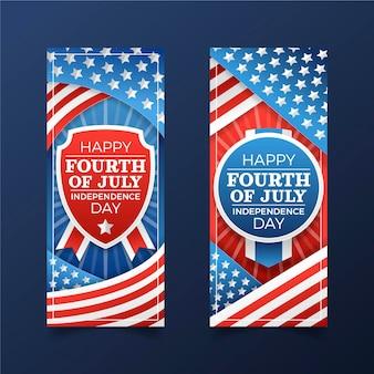 Conjunto de banners do gradiente 4 de julho do dia da independência