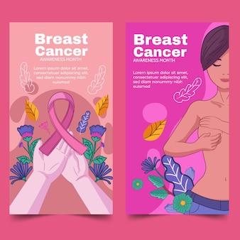 Conjunto de banners do mês de conscientização do câncer de mama desenhados à mão