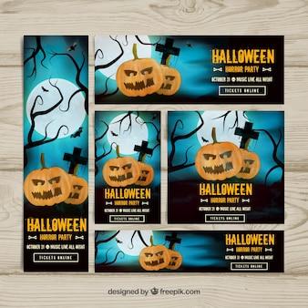 Conjunto de banners do partido de halloween