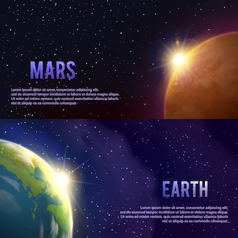 Conjunto de banners do sistema solar