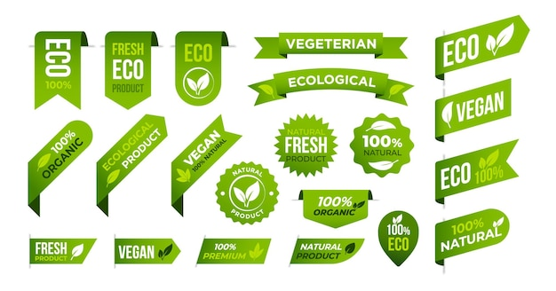 Conjunto de banners e rótulos de eco orgânico vegano.