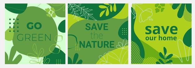 Conjunto de banners ecológicos com fundos verdes, folhas e elementos de formas líquidas