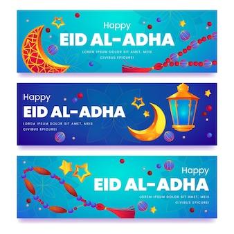 Conjunto de banners eid al-adha de desenhos animados