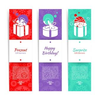 Conjunto de banners elegantes com fundo presente com caixa de presente. ilustração vetorial com design splash