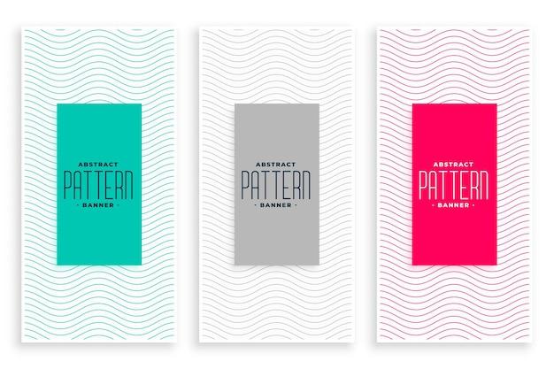 Conjunto de banners elegantes com linhas onduladas suaves