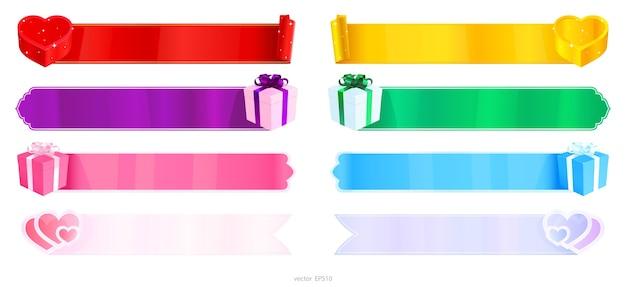 Conjunto de banners em branco da web decorado com caixas de presente e corações dos namorados.