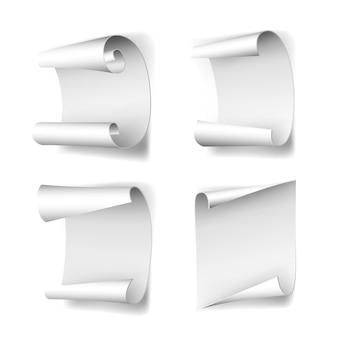 Conjunto de banners em branco de papel curvo branco, isolado no fundo branco. ilustração vetorial.