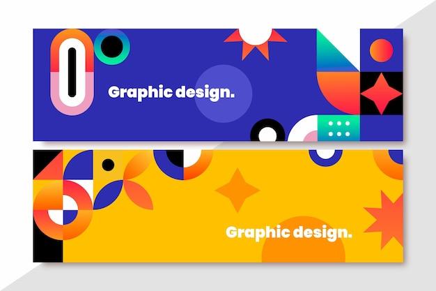 Conjunto de banners em mosaico gradiente