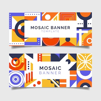 Conjunto de banners em mosaico plano