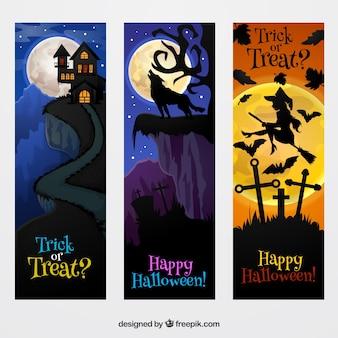 Conjunto de banners felizes de halloween