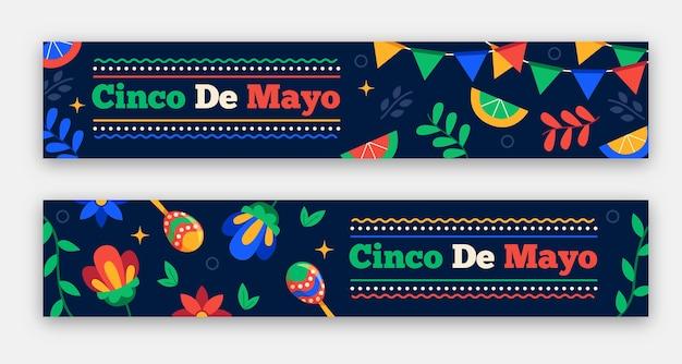 Conjunto de banners flat cinco de mayo