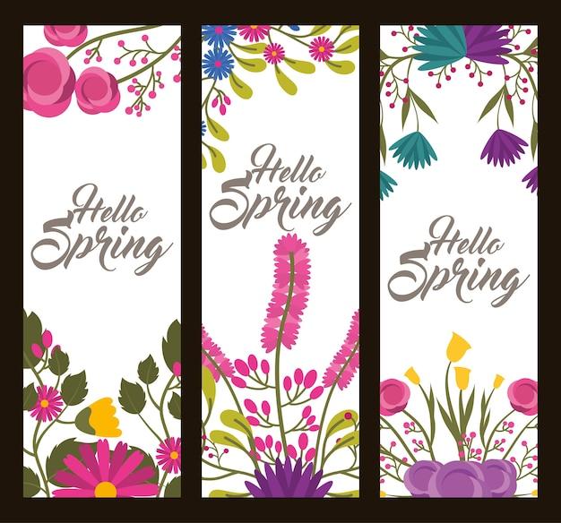 Conjunto de banners florais verticais delicado olá flores de primavera folhas e galhos