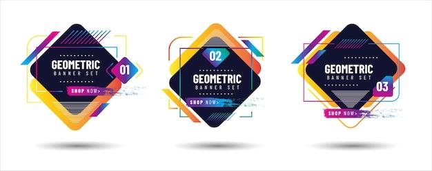 Conjunto de banners geométricos criativos