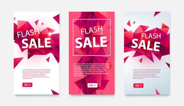 Conjunto de banners geométricos de mídia social para compras online, venda flash. ilustrações de baixo poli faceta vermelho para sites e banners para celular, pôsteres, designs de e-mail, anúncios, promoção