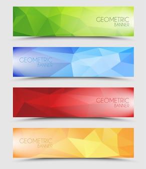 Conjunto de banners geométricos poligonais