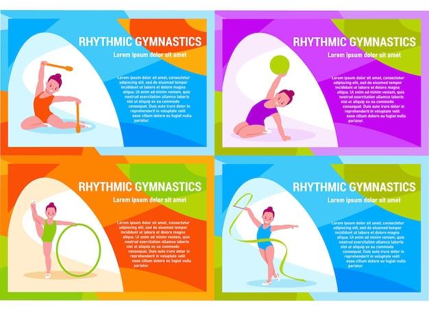 Conjunto de banners. ginástica rítmica para crianças. ilustração vetorial em estilo simples.