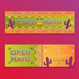Conjunto de banners gradiente cinco de mayo